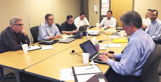 The EAG team meeting in Lansing included from left, Tom Gallagher, Curt Monhart, Scott Ringlein, Peter Vissar, Tim Gladieux, Craig Viges, Steve Payer and Kerry Kilpatrick.